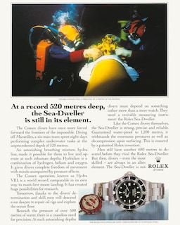 During its partnership with Comex, Rolex has been involved in a number of world records, a theme reflected in Rolex publicity campaigns, for example in 1972 and in 1988.