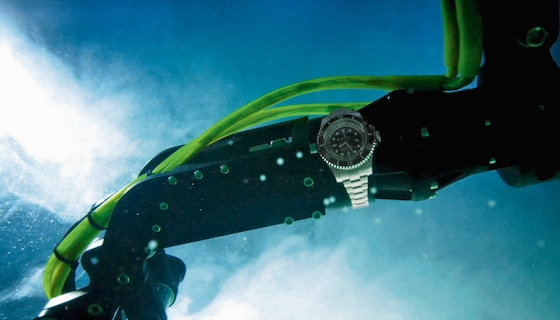 The experimental Rolex Deepsea Challenge watch was affixed to the articulated arm of the DEEPSEA CHALLENGER submersible.